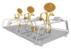 coins on a treadmill